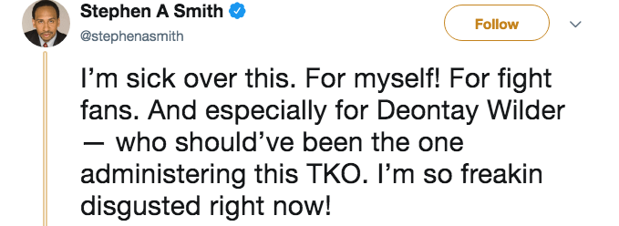 Tweet from Stephen A. Smith about how he's sick over Andy Ruiz Jr. knocking out Anthony Joshua and not Deontay Wilder.