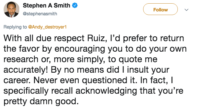 Response tweet from Stephen A. Smith about how he didn't question Andy Ruiz Jr.'s skills or insult his career.