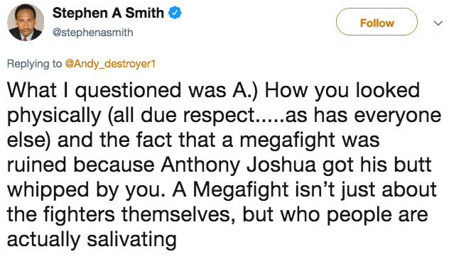 Tweet from Stephen A. Smith about how he questioned how Andy Ruiz Jr. looked and the fact that a megafight was ruined.