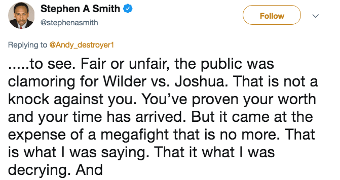Tweet from Stephen A. Smith about how he wasn't knocking Andy Ruiz Jr. for his skills, but instead that he wanted a megafight.
