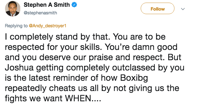 Tweet from Stephen A. Smith about how Anthony Joshua got outclassed by Andy Ruiz Jr.