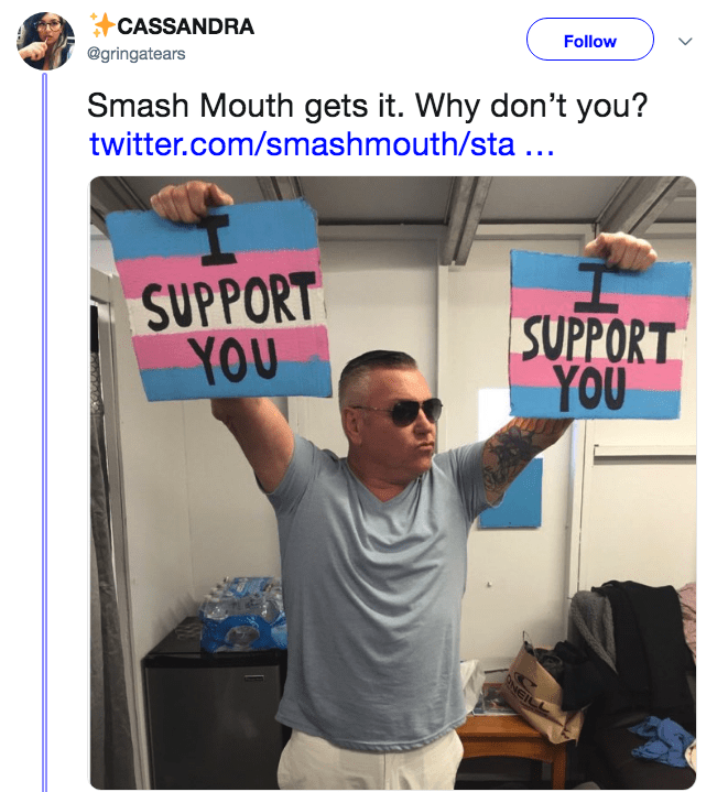 "A tweet of Smash Mouth holding up signs that say ""I support you"" surfaces after their tweet that condemns the Straight Pride Parade."