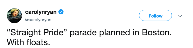 A tweet about a straight pride parade being planned in Boston.