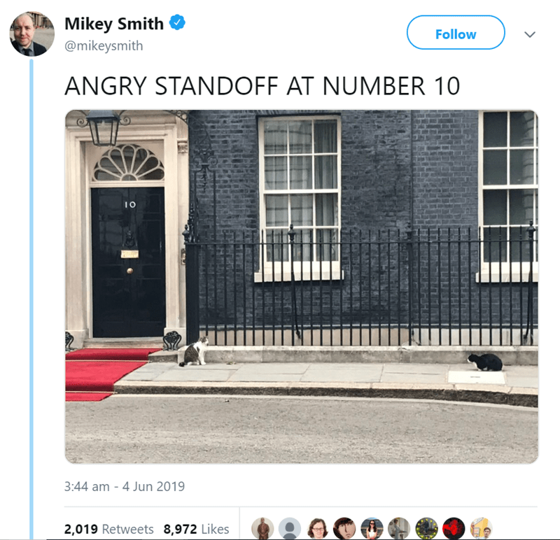 Property - Mikey Smith Follow @mikeysmith ANGRY STANDOFF AT NUMBER 10 3:44 am - 4 Jun 2019 2,019 Retweets 8,972 Likes