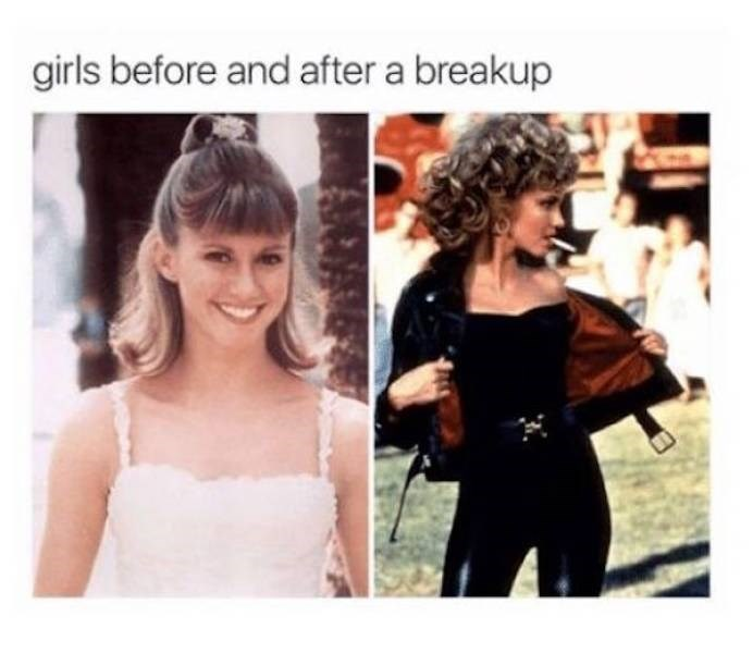 Hair - girls before and after a breakup