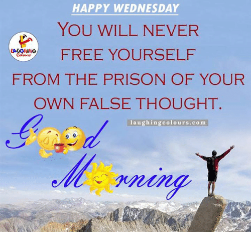 Wednesday memes, hump day, depressing wednesday meme about freeing yourself from the prison of your own false thought.