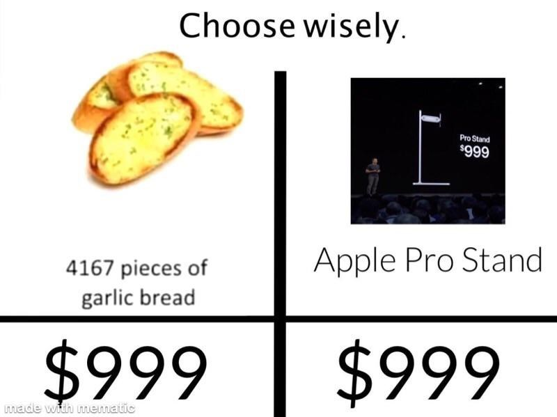 Text - Choose wisely Pro Stand $999 Apple Pro Stand 4167 pieces of garlic bread $999 $999 made with mematic
