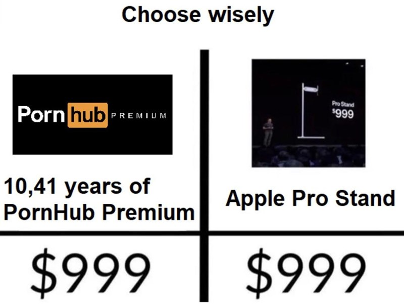 Text - Choose wisely Pro Stand Porn hub $999 PREMIUM 10,41 years of PornHub Premium Apple Pro Stand $999 $999