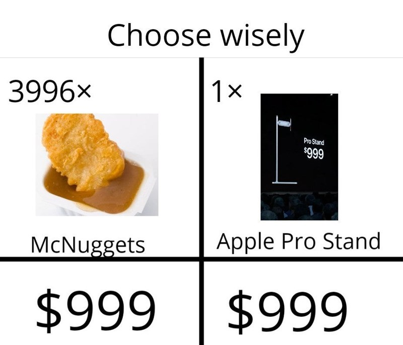 Text - Choose wisely 1x 3996x Pro Stand $999 Apple Pro Stand McNuggets $999 $999