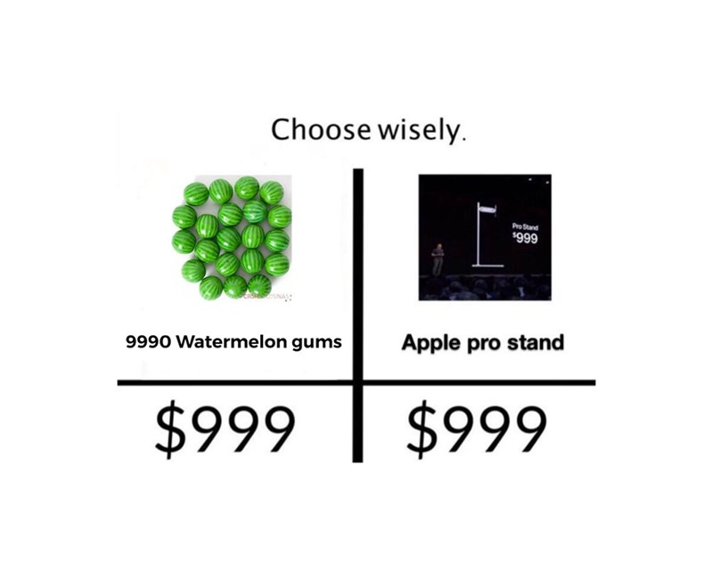Text - Choose wisely Pro Stand $999 Apple pro stand 9990 Watermelon gums $999 $999