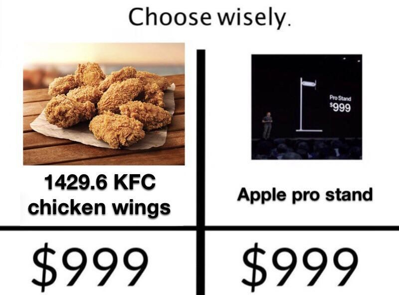 Food - Choose wisely Pro Stand $999 1429.6 KFC Apple pro stand chicken wings $999 $999