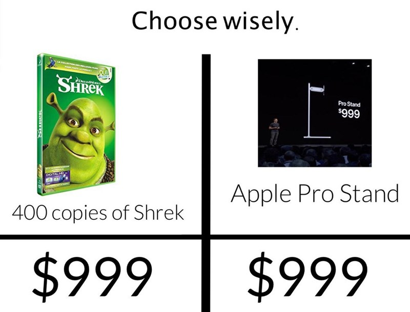 Text - Choose wisely. ALA COLLBCTow DEsEEs SHREK Pro Stand $999 DIGITAL HO Apple Pro Stand 400 copies of Shrek $999 $999