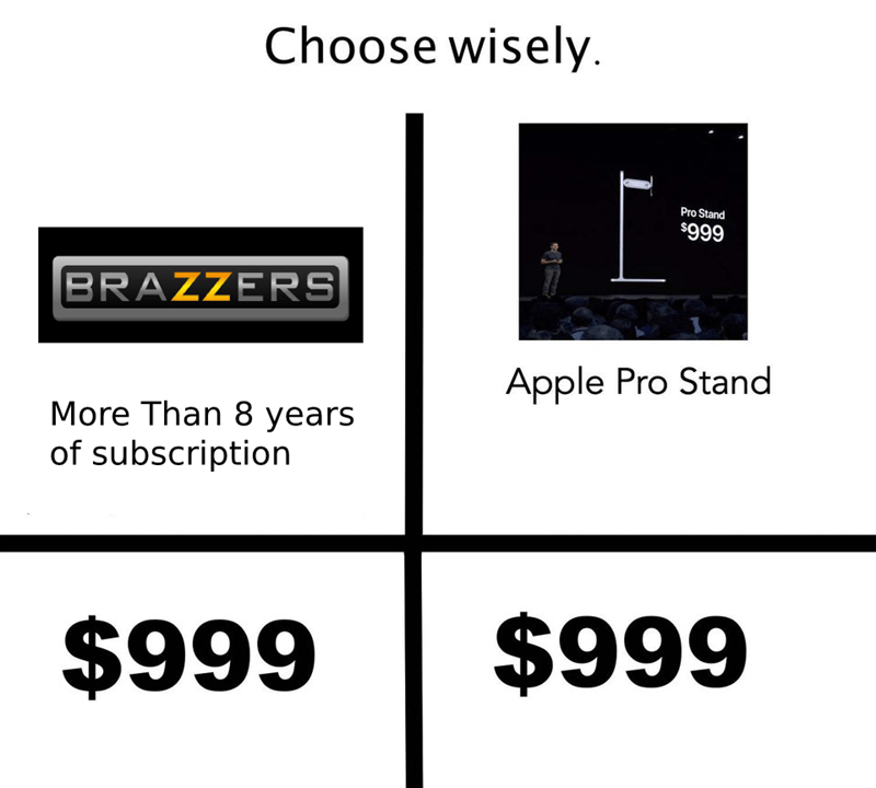 Text - Choose wisely Pro Stand $999 BRAZZERS Apple Pro Stand More Than 8 years of subscription $999 $999