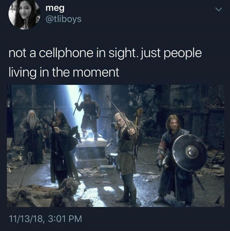 Not a cellphone in sight, just people living in the moment, scene from fellowship of the ring, legolas, gandalf, sean bean, boromir, gimli.