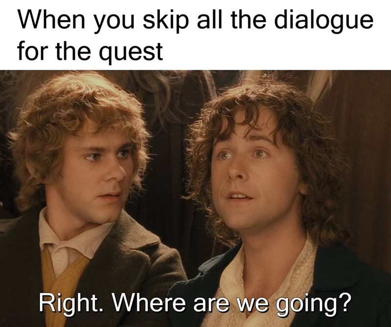 lotr meme - Photo caption - When you skip all the dialogue for the quest Right. Where are we going?