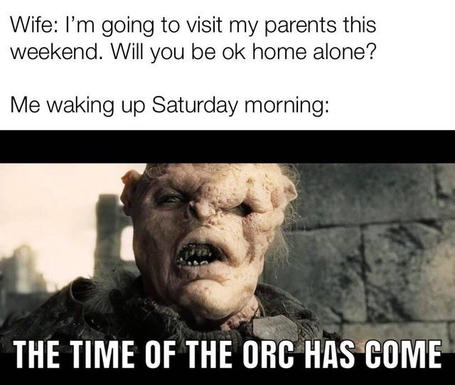 lotr meme - Photo caption - Wife: I'm going to visit my parents this weekend. Will you be ok home alone? Me waking up Saturday morning: THE TIME OF THE ORC HAS COME