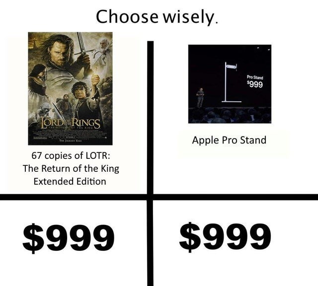 lotr meme - Text - Choose wisely Pro Stand $999 ORDY RINGS THETruraYEL KINC Apple Pro Stand T J E 67 copies of LOTR: The Return of the King Extended Edition $999 $999