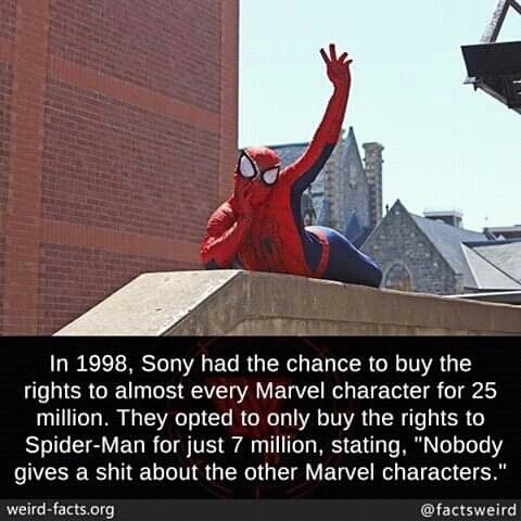 "Roof - In 1998, Sony had the chance to buy the rights to almost every Marvel character for 25 million. They opted to only buy the rights to Spider-Man for just 7 million, stating, ""Nobody gives a shit about the other Marvel characters."" weird-facts.org @factsweird"