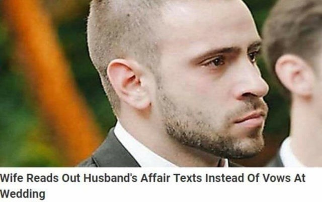 Hair - Wife Reads Out Husband's Affair Texts Instead Of Vows At Wedding