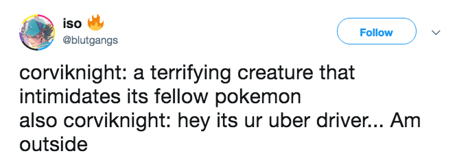Tweet about how Corviknight's a terrifying creature but also provides rides to characters in Pokémon Sword and Shield.