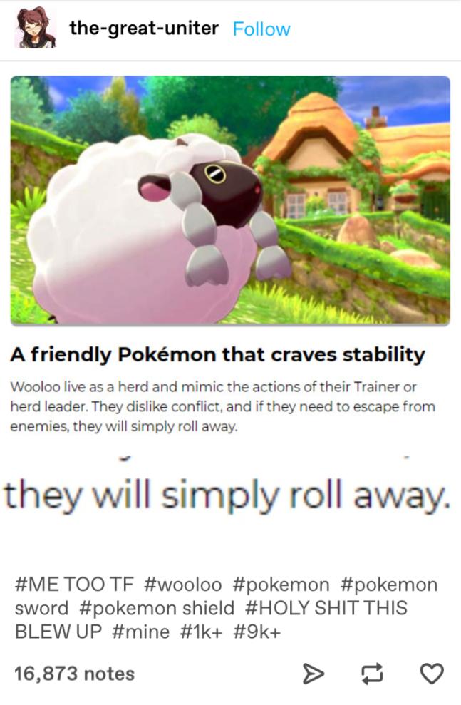 Tumblr post about how Wooloo is a cute Pokémon from Pokémon Sword and Shield, and that it will simply roll away from conflict.