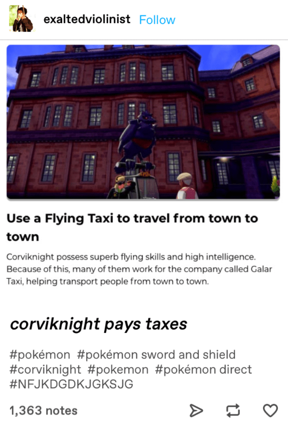 "Tumblr post about how Corviknight can be used as a ""flying taxi"" in Pokémon Sword and Shield."
