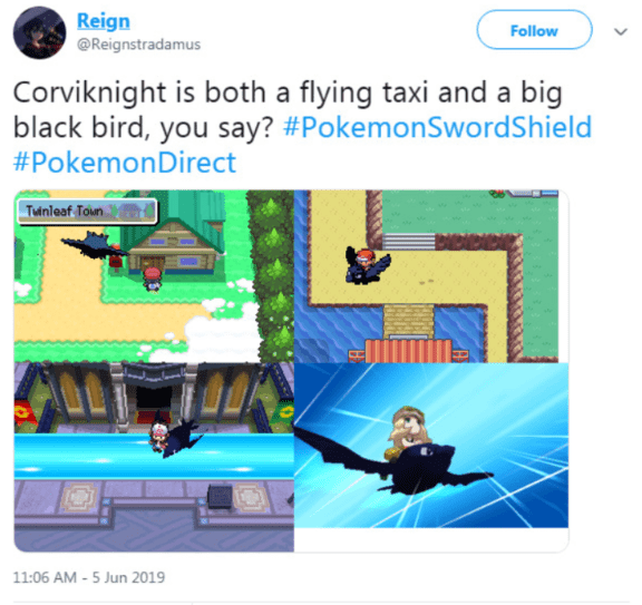 Tumblr post about Pokémon Sword and Shield's Corviknight being both a flying taxi and a big black bird.