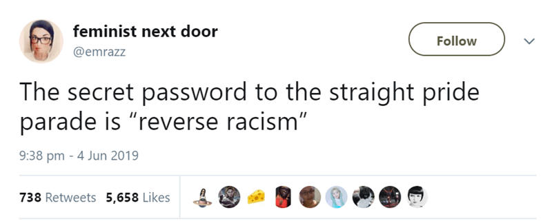 "Text - feminist next door Follow @emrazz The secret password to the straight pride parade is ""reverse racism"" 9:38 pm - 4 Jun 2019 738 Retweets 5,658 Likes"
