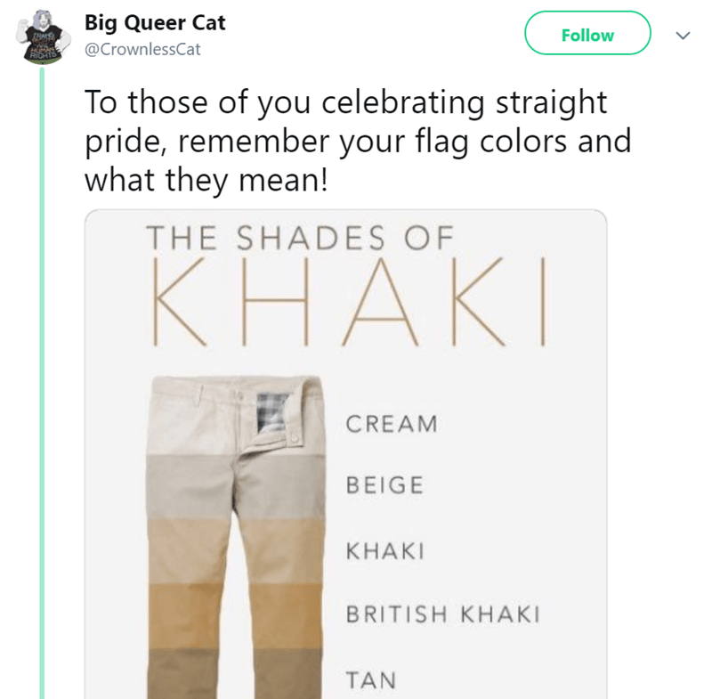 Clothing - Big Queer Cat Follow @CrownlessCat RIC To those of you celebrating straight pride, remember your flag colors and what they mean! THE SHADES OF КНАКI CREAM BEIGE КНAKI BRITISH KHAKI TAN
