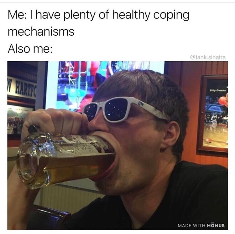Eyewear - Me: I have plenty of healthy coping mechanisms Also me: @tank.sinatra HARTIC Blly Owens MADE WITH MOMUS