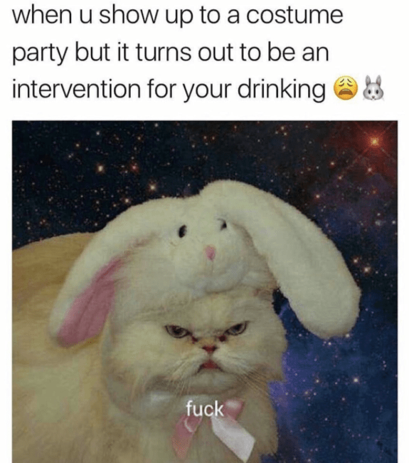 Photo caption - when u show up to a costume party but it turns out to be an intervention for your drinking fuck