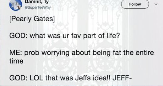 Text - Damnit, Ty eSuperTeeWhy Follow [Pearly Gates] GOD: what was ur fav part of life? ME: prob worrying about being fat the entire time GOD: LOL that was Jeffs idea!! JEFF-
