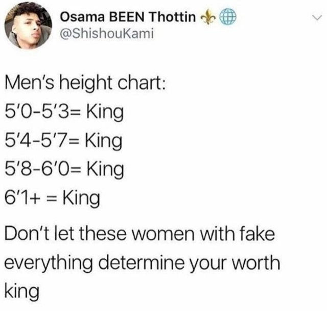 Text - Osama BEEN Thottin L. @ShishouKami Men's height chart: 5'0-5'3= King 5'4-57= King 5'8-6'0= King 6'1+ King Don't let these women with fake everything determine your worth king