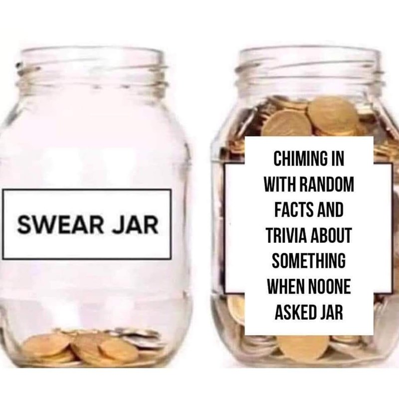 Mason jar - CHIMING IN WITH RANDOM FACTS AND SWEAR JAR TRIVIA ABOUT SOMETHING WHEN NOONE ASKED JAR