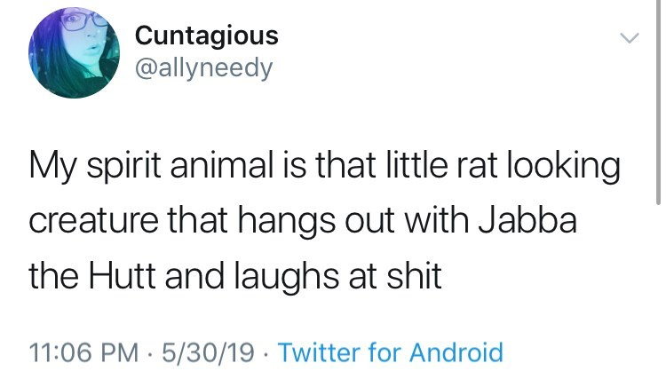 spirit animal meme/tweet little rat looking creature that hangs out with Jabba the hutt and laughs at shit.