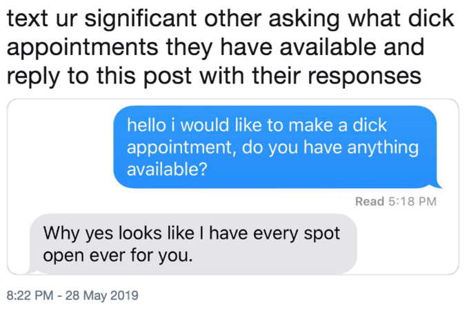 Text - text ur significant other asking what dick appointments they have available and reply to this post with their responses hello i would like to make a dick appointment, do you have anything available? Read 5:18 PM Why yes looks like I have every spot open ever for you. 8:22 PM -28 May 2019