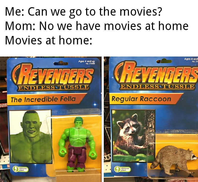 """Caption that reads, """"Me: Can we go to the movies? Mom: No we have movies at home; Movies at home: .."""" above images of fake action figures called """"The Revengers"""""""