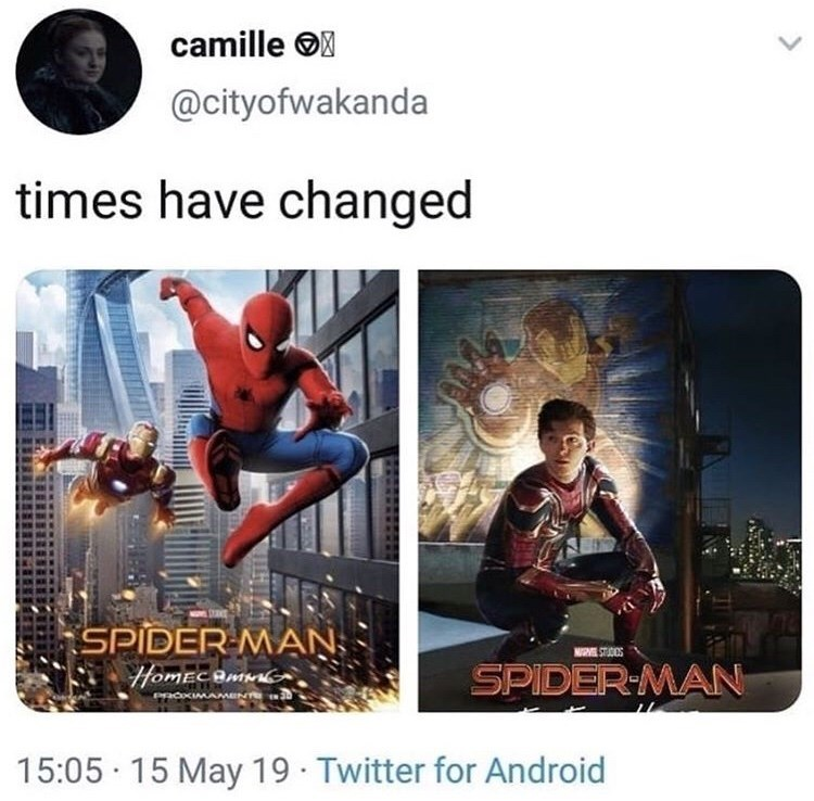 Fictional character - camille @cityofwakanda times have changed SPIDER MAN: NUG ST DIOS SPIDER-MAN HomECBMG PacKIMAMENT 15:05 15 May 19 Twitter for Android