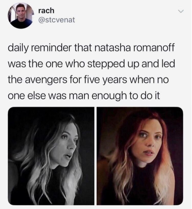 Hair - rach @stcvenat daily reminder that natasha romanoff was the one who stepped up and led the avengers for five years when no one else was man enough to do it