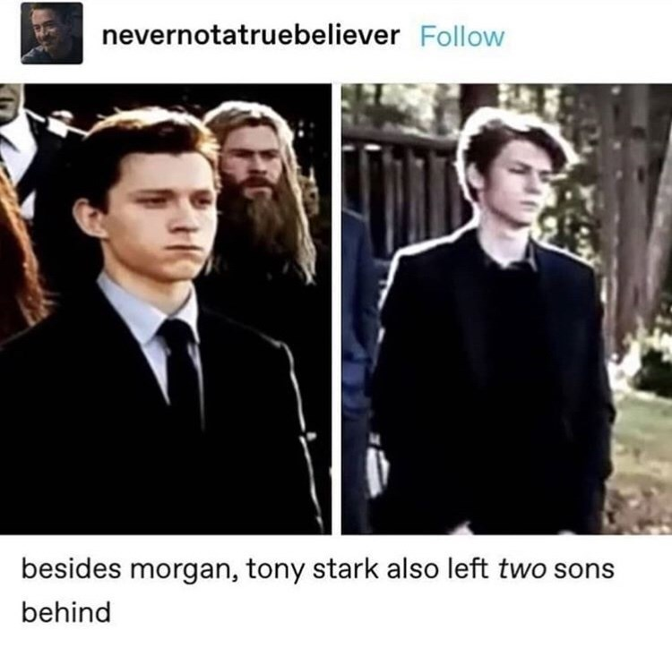 Facial expression - nevernotatruebeliever Follow besides morgan, tony stark also left two sons behind