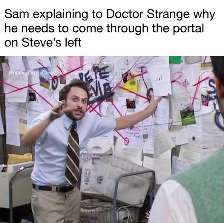 Text - Sam explaining to Doctor Strange why he needs to come through the portal on Steve's left @comic facts marvel de ES