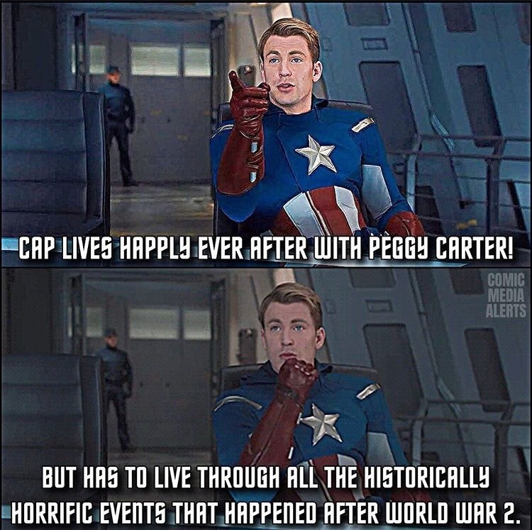 Fictional character - CAP LIVES HAPPLY EVER AFTER WITH PEGGY CARTER! COMIC MEDIA ALERTS BUT HAS TO LIVE THROUGH ALL THE HISTORICALLY HORRIFIC EVENTS THAT HAPPENED AFTER WORLD WAR 2