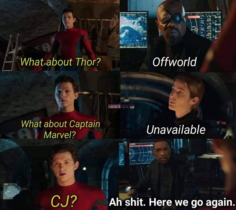 Photo caption - Offworld What about Thor? VIaon What about Captain Unavailable Marvel? CJ? Ah shit. Here we go again. ATH Y