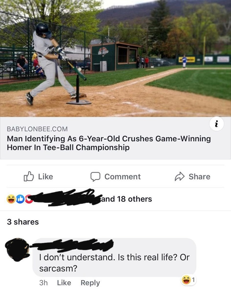 Tree - BABYLONBEE.COM Man Identifying As 6-Year-Old Crushes Game-Winning Homer In Tee- Ball Championship Like Comment Share and 18 others 3 shares I don't understand. Is this real life? Or sarcasm? 1 3h Like Reply