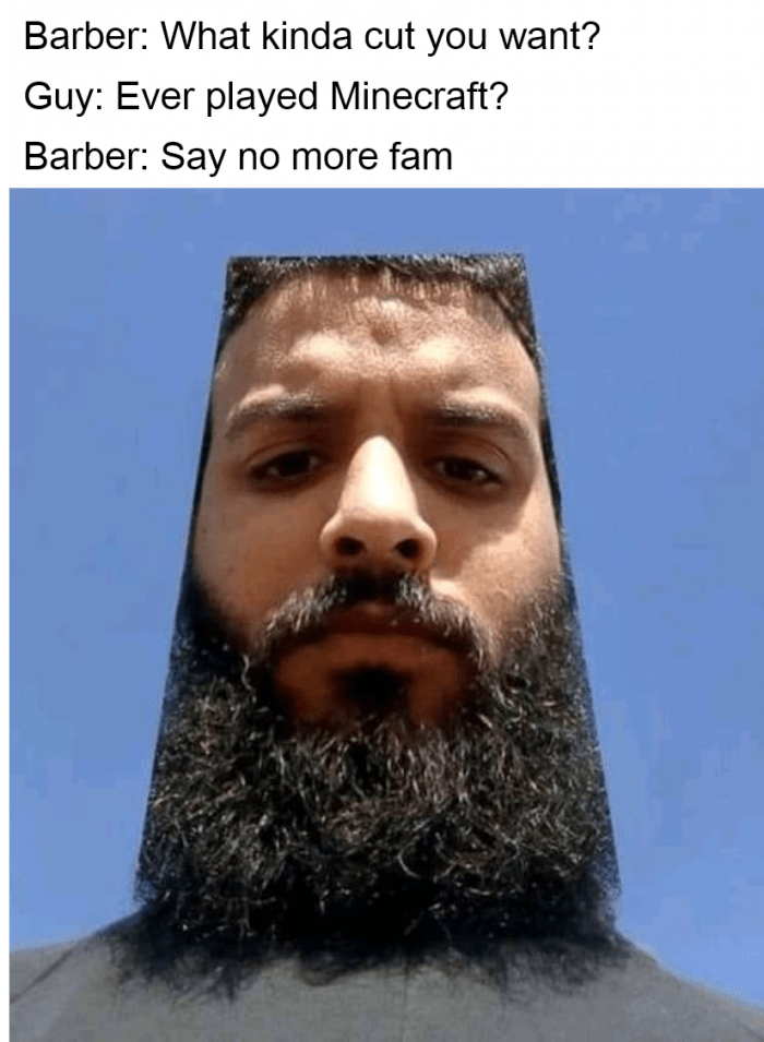 Facial hair - Barber: What kinda cut you want? Guy: Ever played Minecraft? Barber: Say no more fam