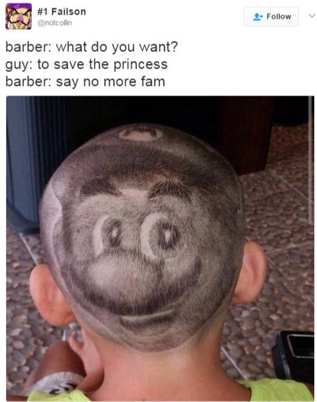 Funny photo of a guy with a bad haircut - Mario