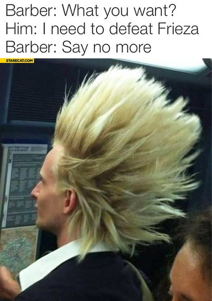 Hair - Barber: What you want? Him: I need to defeat Frieza Barber: Say no more STARECAT.COM