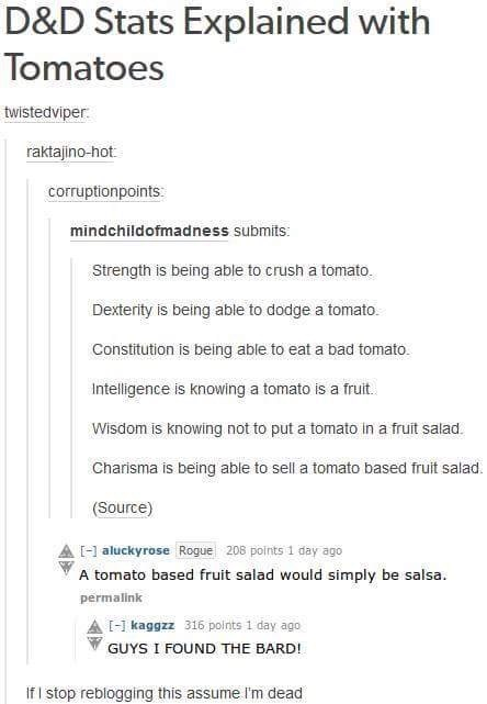 Text - D&D Stats Explained with Tomatoes twistedviper: raktajino-hot corruptionpoints: mindchildofmadness submits: Strength is being able to crush a tomato. Dexterity is being able to dodge a tomato Constitution is being able to eat a bad tomato. Intelligence is knowing a tomato is a fruit. Wisdom is knowing not to put a tomato in a fruit salad. Charisma is being able to sell a tomato based fruit salad. (Source) aluckyrose Rogue 208 points 1 day ago A tomato based fruit salad would simply be sal