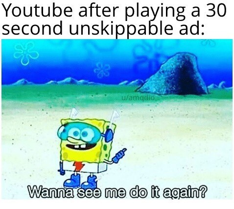random memes - Text - Youtube after playing a 30 second unskippable ad: u/amqdio Wanna see me do it again?