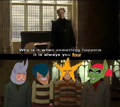 random memes - Cartoon - Why is it when something happens it is always you four